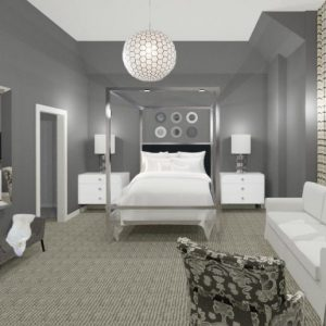 teen-girl-bedroom-design-rendering-gray-and-white-chrome-four-poster-bed